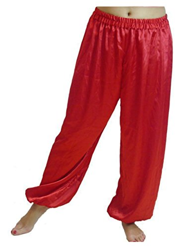 (Dancers World Ltd (UK Seller) Bauchtanz Satin Harem Hosen für Dancing Tribal Dancer Kostüm – Junior S M, rot)