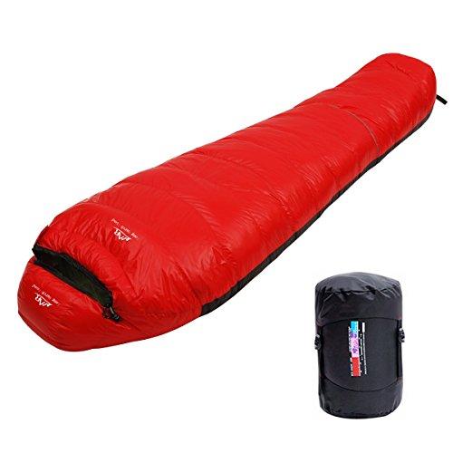 LMR Ultraligero Saco de Dormir Tipo Momia, para las 4 temporadas,a prueba de agua, Saco de compresión (rojo)