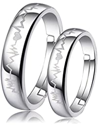Peora Silver Plated Heart and Heartbeat Engraved Adjustable Promise Couple Ring for Men and Women - Set of 2