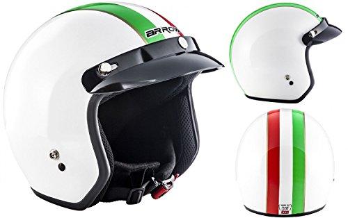 "ARMOR HELMETS® AV-47 ""Italy"" · Jet-Helm · Motorrad-Helm Roller-Helm Scooter-Helm Bobber Mofa-Helm Chopper Retro Cruiser Vintage Pilot Biker Helmet Brille · DOT Schnellverschluss Tasche S (55-56cm)"