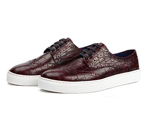 Chaussures Pour Hommes En Cuir Chaussures Basses Pour Hommes Mouvement Chaussures Décontractées Chaussures Simples Tide Fashion (couleur: Rouge-marron, Dimensions: Eu38 / Uk5.5) Rouge-marron