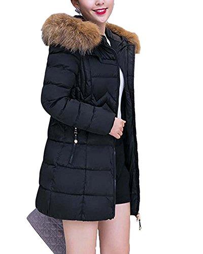 Damen Winter Mantel Mit Kunstpelz Mit Kapuze Lang Daunenmantel Schwarz