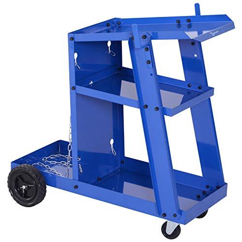 Durhand carrello portautensili attrezzi multiuso a 3 ripiani da officina, carrello per saldatrice chiavi cacciaviti strumenti, blu