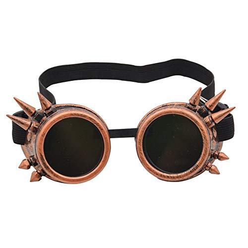 Vintage Punk Gothic Brille Retro Vintage viktorianischen Steampunk Brille Gläser Schweißen Cyber   Punk Gothic Cosplay Sunglasse Kostüm Neuheit Zubehör ( Farbe : Copper , Größe : Free size ) (Cyber Punk Kostüm)