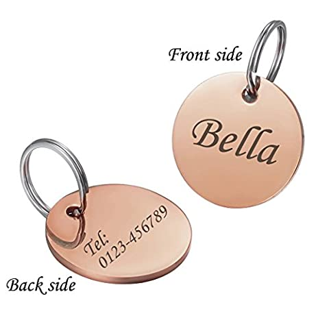 HOUSWEETY Personalized Engraved 25mm Stainless Steel Dog Pet ID Tag