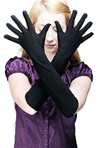 (DRESS ME UP Karneval Fasching Handschuhe Damenhandschuhe Opernhandschuhe lang schwarz Z077)