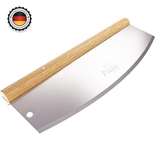 Pizza Tools® Pizzaschneider - Profi Pizzamesser effektiver als Pizzaroller | Premium Wiegemesser aus Edelstahl 35cm mit Holzgriff | Schnelles und gleichmäßiges Schneiden
