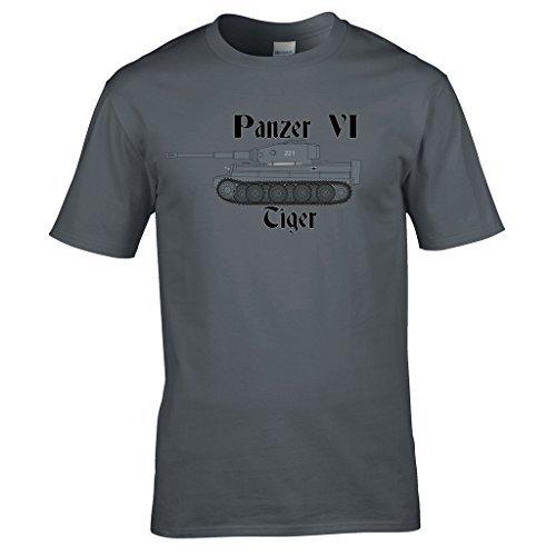 Naughtees bekleidung - Zweiter weltkrieg Panzer 6 Tiger tank T-shirt Ideal für jeder who spielt Welt der Panzer oder hat ein interesse an militär fahrzeuge Dunkelgrau