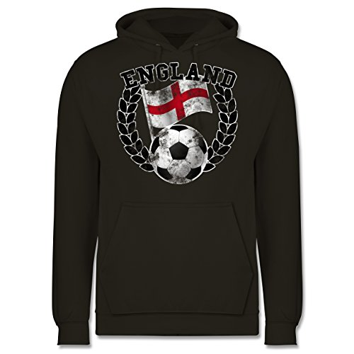 EM 2016 - Frankreich - England Flagge & Fußball Vintage - Männer Premium Kapuzenpullover / Hoodie Olivgrün