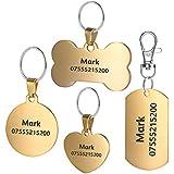 BKDZ Identification gravée de qualité supérieure personnalisée en Acier Inoxydable pour Chien, Chat, étiquettes, os, Rond, Coeur, carré, étiquette, Collier (L, Os d'or)