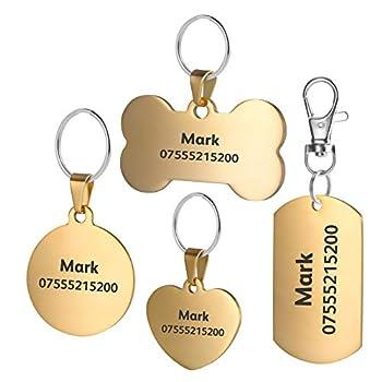 BKDZ Identification gravée de qualité supérieure personnalisée en Acier Inoxydable pour Chien, Chat, étiquettes, os, Rond, Coeur, carré, étiquette, Collier (S, Cercle d'or)
