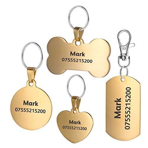 BKDZ Etiquetas de identificación de Mascotas de Acero Inoxidable Etiquetas de Perro Personalizadas Personalizadas Grabado Frontal/Posterior para Gato y Perro con (S, Hueso de Oro)