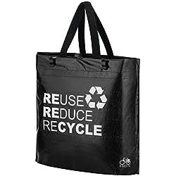 BIKEZAC® Clip-On BOLSA de BICICLETAS | Manijas | Plegable | Agua Repelentes, BikeZac:Black Recycle