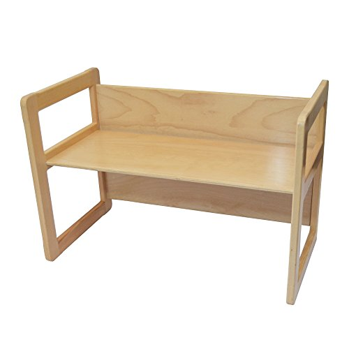 Obique Ltd 3 in 1 Adults Multifunctional Large Coffee Table One Piece or Children's Table or Bench Beech Wood, Natural