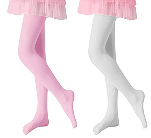 Vellette Mädchen Feinstrumpfhose Ballet Footed Strumpfhose Socken Leggings 120 DEN (2 Piars) (L(8-10 years old), White+Pink(2Pairs)) (Nahtlose Weiß Strumpfhosen)