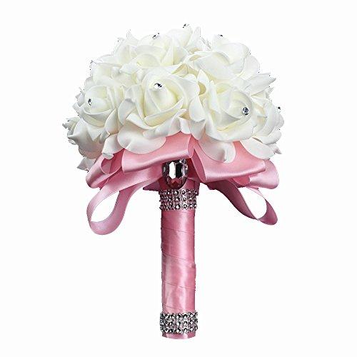 StillCool Blumenstrauß Romantische Hochzeit Bunte Künstliche Hochzeitsstrauß Rosen Seidenblumen Seidenrosen Kunstblumen Blumen Brautstrauß der Braut(18cm*24cm, Rosa)