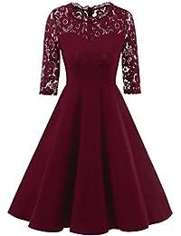 LILICAT Damen Party Kleid Elegant Vintage Spitze Swing Kleid Retro  Cocktailkleid Rockabilly Minikleid Kleidung Midi Kleid d88549b86d