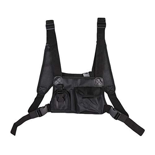 Forart Tactical Chest Rig, Hochleistungs-Radio-Brustgurt, Brust-Frontpack-Tasche Holster Vest Rig mit Fronttaschen für Walkie Talkies-Zubehör - Pager-holster