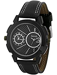 Howdy Smart Analog Black Dial Watch With Black Leather Strap With Dual Time Display - For Men's & Boys Ss566