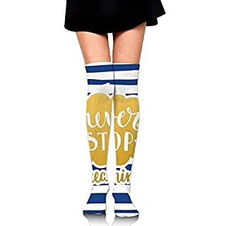 OQUYCZ Womens Marine Themed Inspirational Phrase For Life Navy Vintage Style And Artisan College Style High Socks
