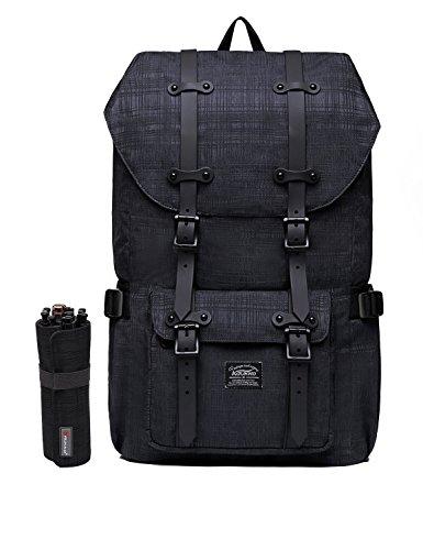 """Rucksack Damen Handgepäckrucksack Herren KAUKKO Backpack Schulrucksack KAUKKO 17 Zoll Laptop Rucksack für 15"""" Notebook Lässiger Daypacks Schultaschen of 2 Side Pockets für Wandern Reisen Camping (NGra 42black2"""