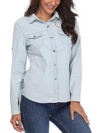 1314b36d854c Blouses et Tops Femmes Denim Chemises boutonnées Dames élégantes Casual  Manches Longues Poches Poitrine Classiques Turn