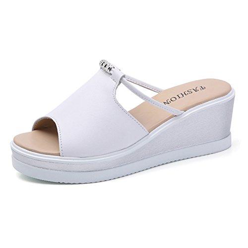 Minetom Tongs Compensées Femme Sandales de Eté Chaussons Confortable à talon plat Chaussures de Plage Blanc EU 36