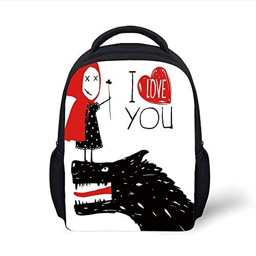 Kids School Backpack Quirky Decor,Little Red Riding Hood Loves Bad Horrible Wolf Plot Twist Fairytale Art,Red Black White Plain Bookbag Travel Daypack