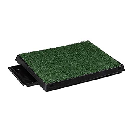 Relaxdays Hundetoilette Rasen, ausziehbare Auffangschale, Indoor, Welpentoilette, HBT 7 x 62,5 x 50 cm, schwarz/grün