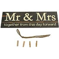 Providethebest Sr. y la Sra Personalizar Foto Clip Holder Boda de Madera Puntales señor y la señora de Mesa Cartas del Alfabeto Boda Boda sesión