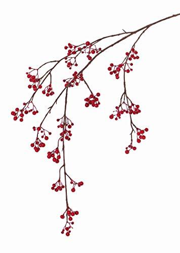 Artplants Set de 12 x Rama de Baya de Nieve Artificial GESA con Bayas, roja, 120cm - Conjunto de Ramas Decorativas/Pack de Ramas de árbol simulado