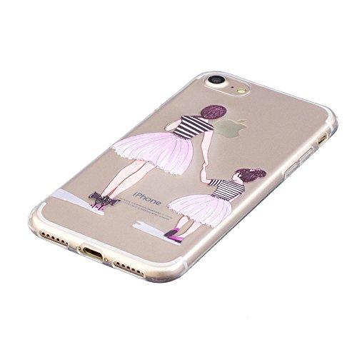 Cover iPhone 7, Voguecase Custodia Silicone Morbido Flessibile TPU Custodia Case Cover Protettivo Skin Caso Per Apple iPhone 7 4.7(Shih Tzu) Con Stilo Penna Madre e figlia
