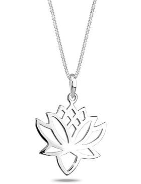 Elli Halskette Lotusblüte Talisman Blume 925 Sterling Silber 45cm