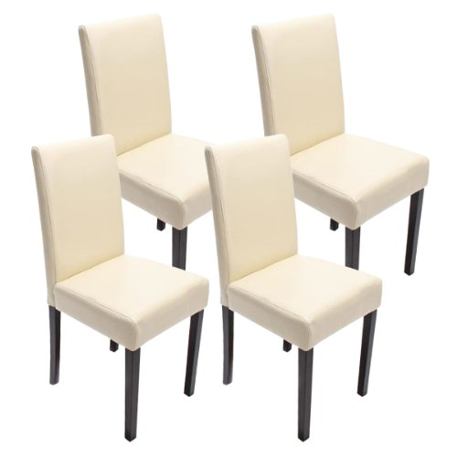 Set 4x sedie Littau ecopelle per sala da pranzo 43x48x90cm ~ avorio piedi scuri