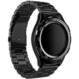 Huawei Watch 2 Reloj Banda, Dokpav® Reemplazo Pulsera de Acero inoxidable Correa de Reloj Inteligente con Tres Perlas Hebilla Diseño para Huawei Watch 2 Sport - Negro