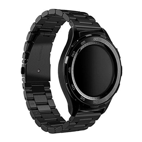 Huawei Watch 2 Armband , Dokpav® Edelstahl Armband Uhrenarmband Erstatzband mit Drei Perle Schnalle Design für Huawei Watch 2 Sport - Schwarz