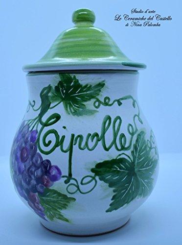 Pot à Oignon Bocau Cuisine Ligne Raisin Céramique Peint à La Main Le Ceramiche del Castello Made in Italy Pièce unique Dimensions H 20 x L 16 cm chacun