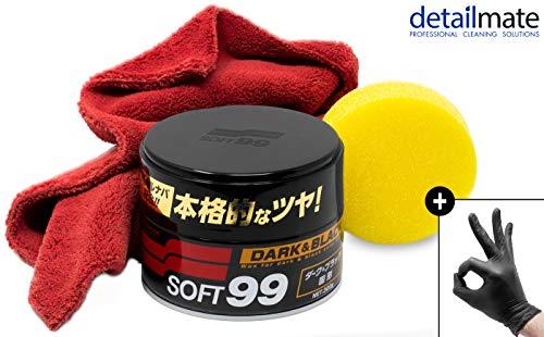 detailmate Wachs Set: Soft99 Dark & Black Wax für Schwarze/dunkle Autolacke,Ultra Flauschiges Mikrofaser Poliertuch 550 GSM, 2 Nitril Schutzhandschuhe
