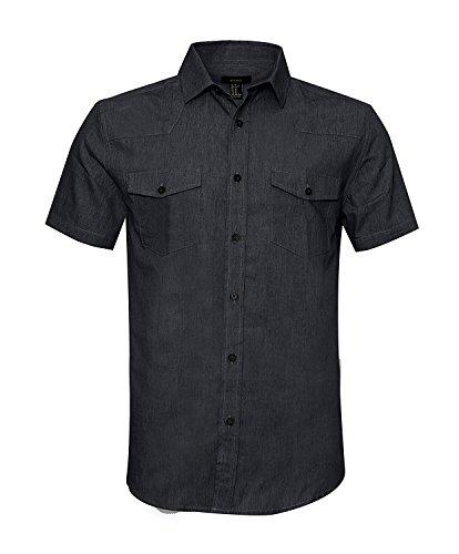 SOOPO Herren Kurzarm Regular Fit Jeanshemd Freizeithemd Arbeitshemd Cowboy-Style Denim Shirt Schwarz 3XL - Herren Arbeitshemd Aus Denim