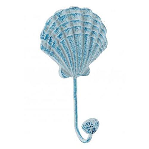 Blue Nautical Metal Seashell Single Wall Hanging Hook Bathroom Seaside Chic by The Home Fusion Company