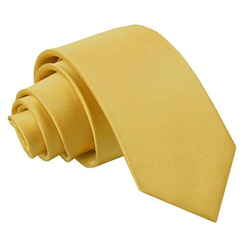 DQT Herren Einfarbig Satin Hochzeit Klassisch Slim 7cm Krawatte Gold -