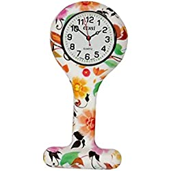 Gel Silicone Flowers Funky Nurse Fob Watch Washable for Infection Control Paramedic Doctor Unisex
