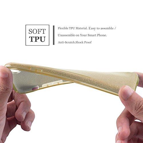 Cadorabo - Luxuriöses Glitzer TPU Hard Cover passend für >             Apple iPhone 5 / 5S / SE             < Slim Case Silikon Schutz-Hülle in STERNENSTAUB-PINK STERNENSTAUB-GOLD