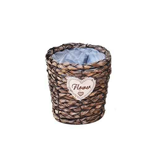 TELLW Pot de Fleurs en rotin Pur fabriqué à la Main Multi-Meat Panier doublé de Plantes d'intérieur Vert Panier de Fleurs Terre Culture Vase Fleurs Appareil