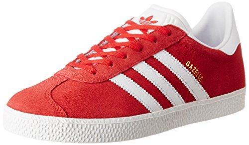 adidas Gazelle, Baskets Basses Mixte Enfant, Rouge (Scarlet/Footwear White/Gold Metallic), 38 EU