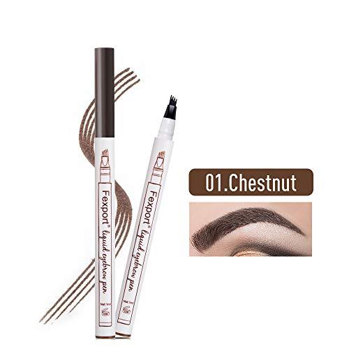 Wawhere - Lápiz de cejas líquido 3D, lápiz de tatuaje para cejas, 4 puntas de horquilla líquida para maquillaje de ojos, larga duración, impermeable, a prueba de manchas, aspecto natural