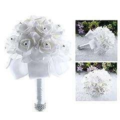 Idea Regalo - Itian Bouquet da Sposa di Fiori Artificial Rose Fiori da Sposa Decor(Bianco)
