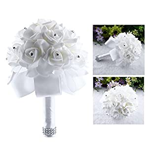 Itian Ramo de Novia, Flores Artificiales Boda Flores para Novia Romántica Hecho a Mano con Rosas y Perlas
