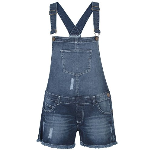 Ladies Stretchable Braces Dungaree Shorts Mid Wash UK 10
