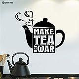 woyaofal Make Tea Not War Stickers Muraux Stickers Art Quotes Ceapot Vinyle Auto-adhésif Cuisine Décoration de La Maison Intérieur Amovible Mural L 67x57cm